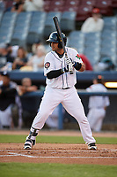 Connecticut Tigers catcher Gresuan Silverio (13) at bat during a game against the Hudson Valley Renegades on August 20, 2018 at Dodd Stadium in Norwich, Connecticut.  Hudson Valley defeated Connecticut 3-1.  (Mike Janes/Four Seam Images)