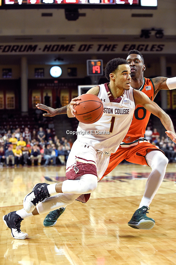 Wednesday January 20, 2016: Boston College Eagles guard Jerome Robinson (1) drives to the net with Miami (Fl) Hurricanes guard Sheldon McClellan (10) in pursuit during the second half of the NCAA men's basketball game between the Miami Hurricanes and the Boston College Eagles at Conte Forum, in Chestnut Hill, Mass.  Miami beats Boston 67-53. Eric Canha/CSM
