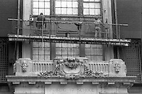 New York, NY CIrca 1989 - Workmen making repairs to the exterior of PS 17 in Chelsea.