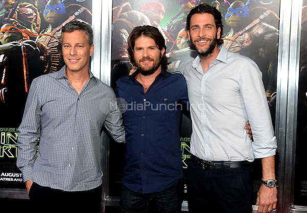 New York, NY- August 6:  Producer Andrew Form, Director Jonathan Liebesman and Producer Brad Fuller   attends the Teenage Mutant Ninja turtles screening on August 6, 2014 at the AMC in New York. Credit: John Palmer/MediaPunch