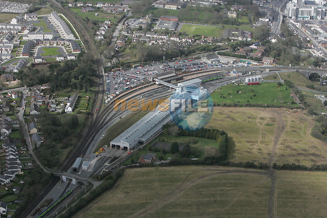 Aerial view of Drogheda train station. 12/04/05...Photo NEWSFILE/Fran Caffrey.(Photo credit should read Fran Caffrey/NEWSFILE)....This Picture has been sent you under the condtions enclosed by:.Newsfile Ltd..The Studio,.Millmount Abbey,.Drogheda,.Co Meath..Ireland..Tel: +353(0)41-9871240.Fax: +353(0)41-9871260.GSM: +353(0)86-2500958.email: pictures@newsfile.ie.www.newsfile.ie.FTP: 193.120.102.198...This picture is from Fran Caffrey@newsfile.ie