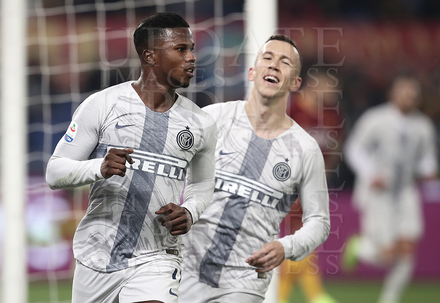 Football, Serie A: AS Roma - InterMilan, Olympic stadium, Rome, December 02, 2018. <br /> Inter's Keita Balde Diao (l) celebrates after scoring with his teammate Ivan Perisic (l) during the Italian Serie A football match between Roma and Inter at Rome's Olympic stadium, on December 02, 2018.<br /> UPDATE IMAGES PRESS/Isabella Bonotto