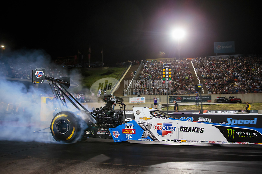 Jul 20, 2018; Morrison, CO, USA; NHRA top fuel driver Brittany Force during qualifying for the Mile High Nationals at Bandimere Speedway. Mandatory Credit: Mark J. Rebilas-USA TODAY Sports
