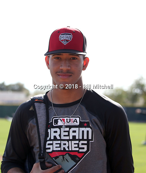 Simeon Woods-Richardson participates in the 2018 MLB Dream Series on January 12-15, 2018 at the Los Angeles Angels minor league complex in Tempe, Arizona (Bill Mitchell)