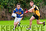 St. Senan's Paudie Quill wins the ball from Asdee's Eoin O'Carroll in the novice semi final clash in Finuge on Sunday last.