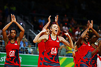 Helen Housby of England celebrates after winning against New Zealand. Gold Coast 2018 Commonwealth Games, Netball, New Zealand Silver Ferns v England, Gold Coast Convention and Exhibition Centre, Gold Coast, Australia. 11 April 2018 © Copyright Photo: Anthony Au-Yeung / www.photosport.nz /SWpix.com