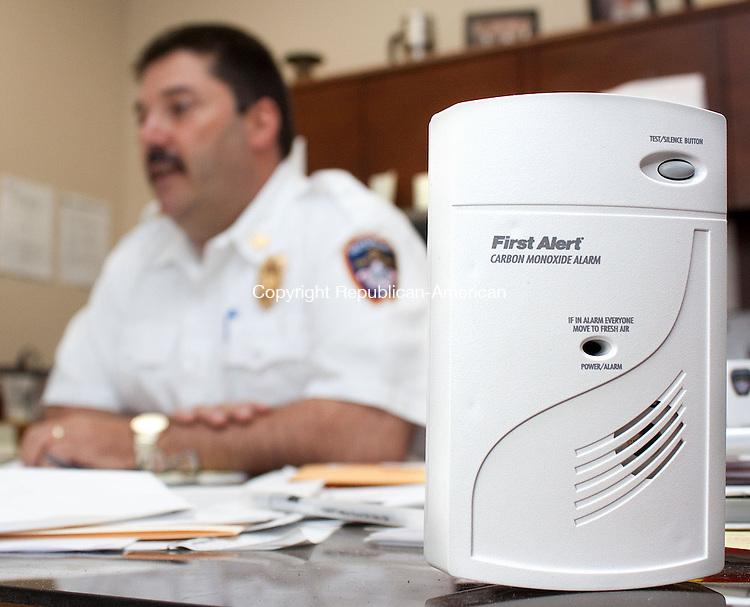 WATERBURY CT-MAY 22 2013- 052213DA04- City of Waterbury Fire Department Assistant Chief Michael P. Couture talks about the area fire departments which have been offering free carbon monoxide detectors as part of their ongoing programs for the safety of the community..Darlene Douty Republican American