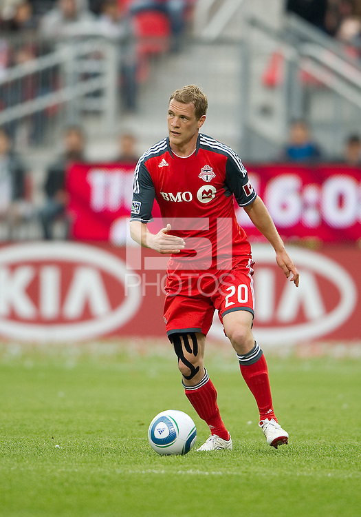 Toronto FC defender Ty Harden #20 in action during an MLS game between Sporting Kansas City and the Toronto FC at BMO Field in Toronto on June 4, 2011..The game ended in a 0-0 draw...