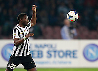 Calcio, Serie A: Napoli vs Juventus. Napoli, stadio San Paolo, 30 marzo 2014. <br /> Juventus midfielder Kwadwo Asamoah, of Ghana, eyes the ball during the Italian Serie A football match between Napoli and Juventus at Naples' San Paolo stadium, 30 March 2014.<br /> UPDATE IMAGES PRESS/Isabella Bonotto