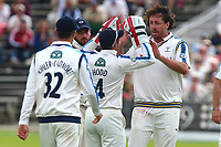 Ryan Sidebottom of Yorkshire celebrates the wicket of Mohammad Amir during Yorkshire CCC vs Essex CCC, Specsavers County Championship Division 1 Cricket at Scarborough CC, North Marine Road on 7th August 2017