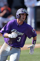 Davy Wright #3 of the TCU Horned Frogs runs the bases against the Cal State Fullerton Titans at Goodwin Field on February 26, 2012 in Fullerton,California. Fullerton defeated TCU 11-10.(Larry Goren/Four Seam Images)
