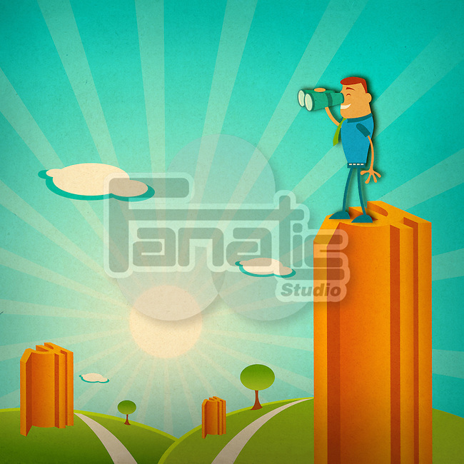 Businessman standing on the top of a building looking through binoculars