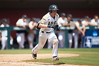 Jon Rosoff (7) of the Army Black Knights hustles down the first base line against the North Carolina State Wolfpack at Doak Field at Dail Park on June 3, 2018 in Raleigh, North Carolina. The Wolfpack defeated the Black Knights 11-1. (Brian Westerholt/Four Seam Images)
