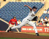 June 7, 2004:  Sean Smith of the Lake County Captains, Low-A South Atlantic League affiliate of the Cleveland Indians, during a game at Classic Park in Eastlake, OH.  Photo by:  Mike Janes/Four Seam Images