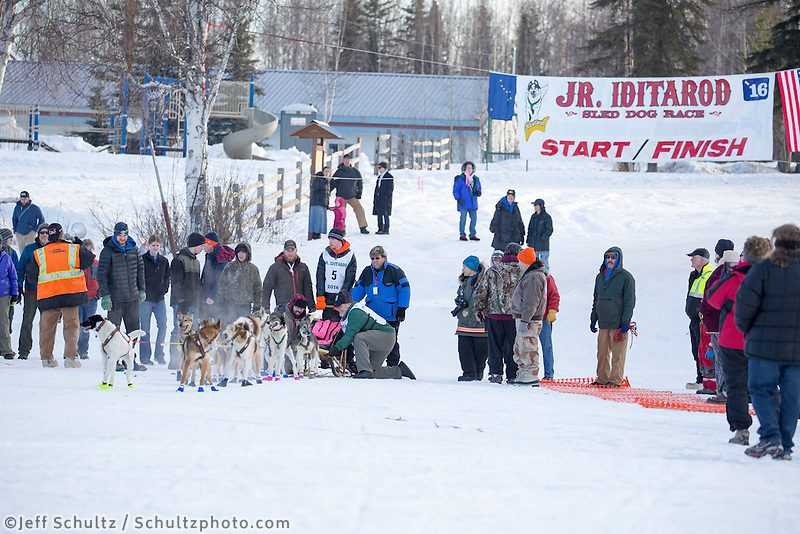 Andrew Nolan At the start of the 2016 Junior Iditarod Sled Dog Race on Willow Lake  in Willow, AK February 27, 2016