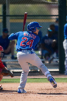 Chicago Cubs center fielder DJ Wilson (24) during a Minor League Spring Training game against the Los Angeles Angels at Sloan Park on March 20, 2018 in Mesa, Arizona. (Zachary Lucy/Four Seam Images)