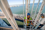 Reaching the top of the new Self Anchored Suspension bridge in the Bay Area, the world's largest SAS span. Labor day bridge closure Thursday August 29, Friday August, 30, 2013. With ACC road crews.