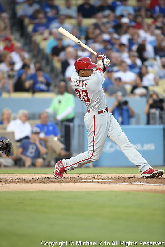 August 9, 2016 Los Angeles, CA:Philadelphia Phillies right fielder Aaron Altherr #23 during a MLB game between the Los Angeles Dodgers and the Philadelphia Phillies played at Dodger Stadium.