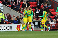 Kenneth Zohore of West Bromwich Albion celebrates his goal with Conor Townsend of West Bromwich Albion during Charlton Athletic vs West Bromwich Albion, Sky Bet EFL Championship Football at The Valley on 11th January 2020