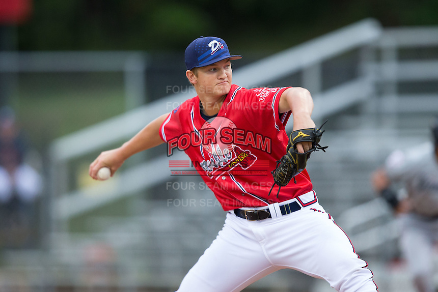 Danville Braves starting pitcher Mike Soroka (22) in action against the Pulaski Yankees at Legion Field on August 7, 2015 in Danville, Virginia.  The Yankees defeated the Braves 3-2. (Brian Westerholt/Four Seam Images)
