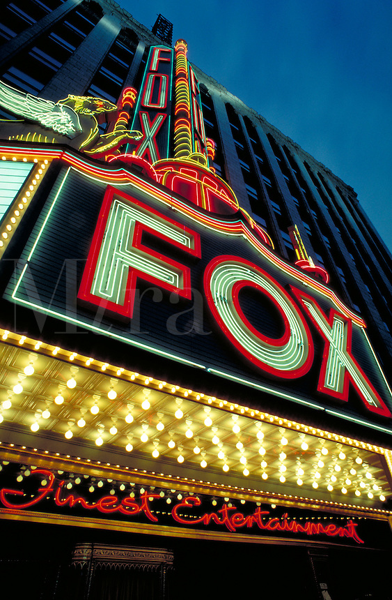 Historic Fox Theater in the Entertainment District of Detroit, neon lights, theaters. Detroit Michigan USA downtown.