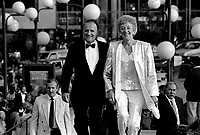 Serge Losique (L) and Flora McDonald, Canadian Minister of Communications (R) attend the opening of the  (Montreal) World Film Festival on August 21, 1987.<br /> <br /> File Photo : Agence Quebec Presse - Pierre Roussel