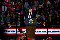 TOPEKA, KS - OCTOBER 6: President Donald Trump at MAGA rally in support of Kansas Secretary of State Kris Kobach who is the Republican candidate for governor in Topeka, Kansas on October 6, 2018. <br /> CAP/MPI/MRN<br /> &copy;MRN/MPI/Capital Pictures