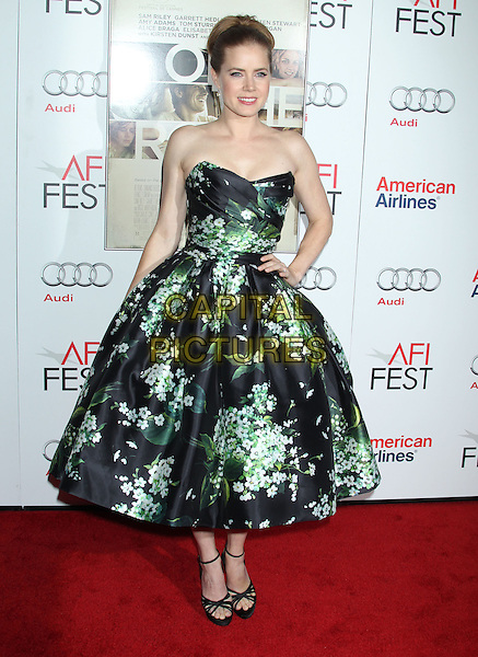Amy Adams.'On The Road' gala screening, 2012 AFI FEST, Grauman's Chinese Theatre, Hollywood, California, USA..3rd November 2012 .full length dress hand on hip black strapless green floral print ankle strap shoes .CAP/ADM/RE.©Russ Elliot/AdMedia/Capital Pictures.