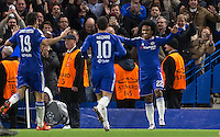Celebrations as Willian of Chelsea makes it 2-0 during the UEFA Champions League group G match between Chelsea and FC Porto at Stamford Bridge, London, England on 9 December 2015. Photo by Andy Rowland.