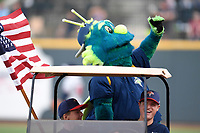 "Columbia Fireflies mascot ""Mason"" waves to fans between innings of the game against the Rome Braves on Monday, July 3, 2017, at Spirit Communications Park in Columbia, South Carolina. Columbia won, 1-0. (Tom Priddy/Four Seam Images)"