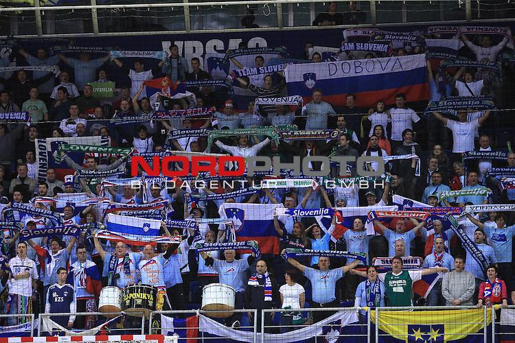 18.01.2012., Millennium Hall, Vrsac, Srbija - 10th men's european handball championship, group D, Slovenia - Croatia. Slovenian supporters. <br /> <br /> Foto &copy;  nph / PIXSELL / Antonio Bronic