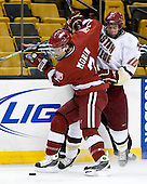 Chad Morin (Harvard - 7), Jimmy Hayes (BC - 10) - The Boston College Eagles defeated the Harvard University Crimson 6-0 on Monday, February 1, 2010, in the first round of the 2010 Beanpot at the TD Garden in Boston, Massachusetts.