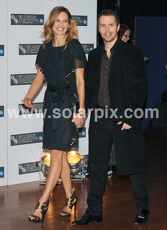 **ALL ROUND PICTURES FROM SOLARPIX.COM**                                             **WORLDWIDE SYNDICATION RIGHTS**                                                                                  Caption: Photo call for Conviction. Part of the BFI Film Festival Held at the Vue Cinema, Leicester Square, London, UK. 15 October 2010                                                                              This pic: Hilary Swank and Sam Rockwell                                                                                     JOB REF: 12317 SSD       DATE: 15_10_2010                                                           **MUST CREDIT SOLARPIX.COM OR DOUBLE FEE WILL BE CHARGED**                                                                      **MUST AGREE FEE BEFORE ONLINE USAGE**                               **CALL US ON: +34 952 811 768 or LOW RATE FROM UK 0844 617 7637**