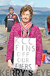 Mary Sheehan from Cahersiveen pictured here at Kells Pier on Sunday protesting against the proposed K.C.C. Harbour Bye-Laws.
