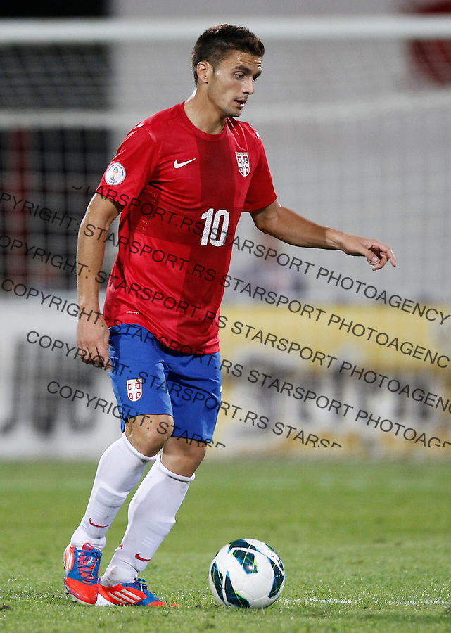 NOVI SAD, SERBIA - SEPTEMBER 11: Dusan Tadic of Serbia in action during the FIFA 2014 World Cup Qualifier at stadium Karadjordje Park between Serbia and Wales on September 11, 2012 in Novi Sad, Serbia (Photo by Srdjan Stevanovic/Getty Images)