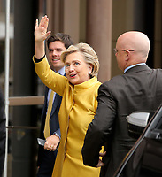 Pictured: Hillary Clinton waves upon her arrival at Swansea University Bay Campus. Saturday 14 October 2017<br /> Re: Hillary Clinton, the former US secretary of state and 2016 American presidential candidate will be presented with an honorary doctorate during a ceremony at Swansea University's Bay Campus in Wales, UK, to recognise her commitment to promoting the rights of families and children around the world.<br /> Mrs Clinton's great grandparents were from south Wales.