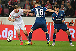15.04.2019, RheinEnergieStadion, Koeln, GER, 2. FBL, 1.FC Koeln vs. Hamburger SV ,<br />  <br /> DFL regulations prohibit any use of photographs as image sequences and/or quasi-video<br /> <br /> im Bild / picture shows: <br /> Simon Terodde (FC Koeln #9), im Zweikampf gegen  Vasilije Janjicic (HSV #16), <br /> <br /> Foto © nordphoto / Meuter