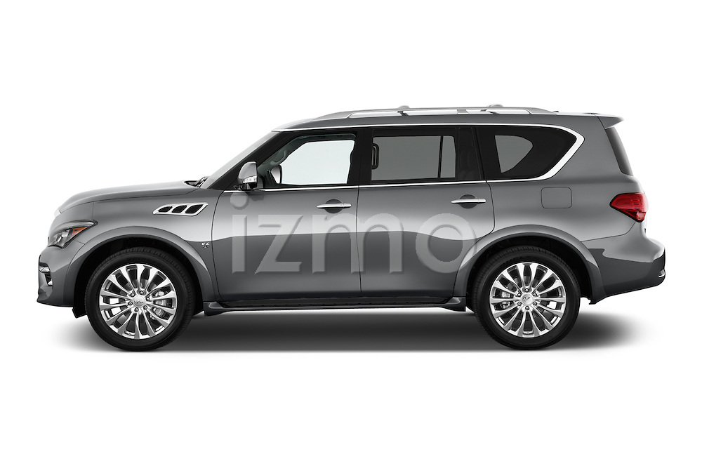 Car Driver side profile view of a 2015 Infiniti QX80 3.5 5 Door SUV Side View