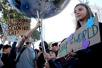 Roma, 15 Marzo 2019<br /> Alice Imbastari, la giovane che si ispira a Greta. <br /> Migliaia di studentesse e studenti partecipano al Global Strike For Future, lo sciopero generale per il pianeta lanciato dalla 16enne Greta Thunberg diventata simbolo della lotta ai cambiamenti climatici