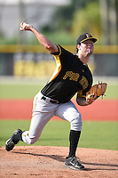 Pittsburgh Pirates minor league pitcher Jake Burnette (50) throws live batting practice on June 27, 2014 at Pirate City in Bradenton, Florida.  (Mike Janes/Four Seam Images)
