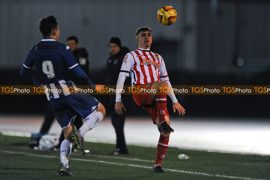 Luke Slater of Stevenage tries to control the ball during Wigan Athletic Youth vs Stevenage Youth, FA Youth Cup Football at Robin Park Arena, Wigan, England on 17/12/2015