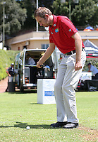 Jason Palmer (ENG) gives a demo on the range of the one arm chipping stroke during the preview of the Tshwane Open 2015 at the Pretoria Country Club, Waterkloof, Pretoria, South Africa. Picture:  David Lloyd / www.golffile.ie. 10/03/2015