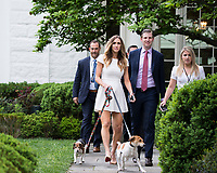 Washington DC, April 17, 2017, USA:  Eric and Lara Trump arrive at the White House with their rescue dogs to attend the 139th  Annual White House Easter Egg roll.President Donald J Trump and First Lady Melania Trump welcome visitors to the South Lawn of the White House for the 139th Annual Easter Egg roll and event in Washington DC. <br /> CAP/MPI/LYN<br /> &copy;LYN/MPI/Capital Pictures
