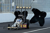 Nov. 9, 2012; Pomona, CA, USA: NHRA top fuel dragster driver Khalid Albalooshi during qualifying for the Auto Club Finals at at Auto Club Raceway at Pomona. Mandatory Credit: Mark J. Rebilas-