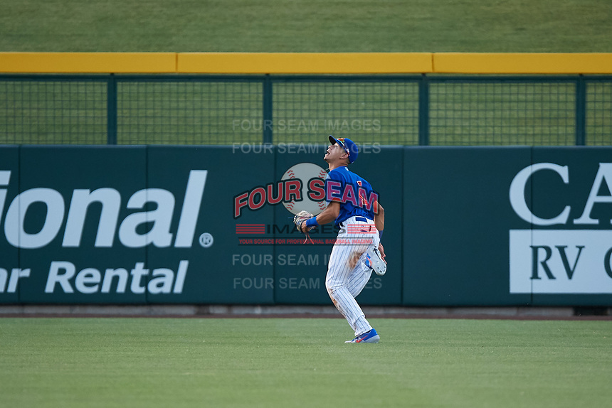 AZL Cubs 1 center fielder Ezequiel Pagan (1) pursues a deep fly ball during an Arizona League game against the AZL Padres 1 on July 5, 2019 at Sloan Park in Mesa, Arizona. The AZL Cubs 1 defeated the AZL Padres 1 9-3. (Zachary Lucy/Four Seam Images)