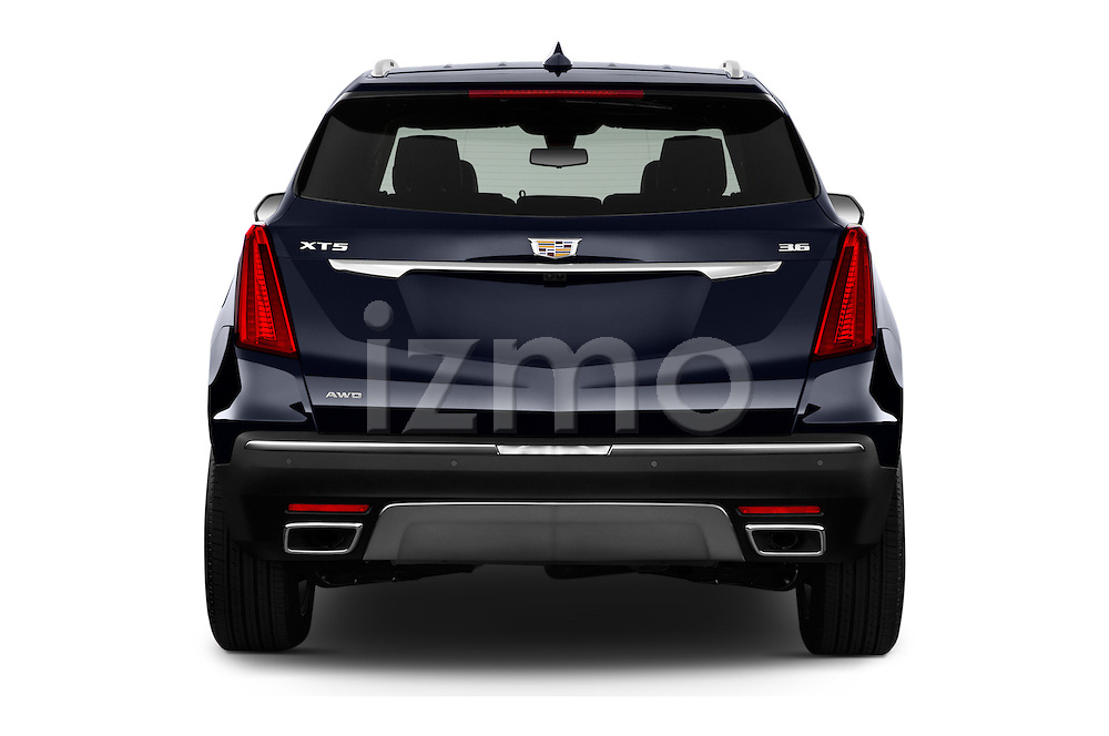 Straight rear view of 2017 Cadillac XT5 AWD-Platinum 5 Door SUV Rear View  stock images