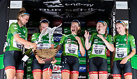 Picture by Alex Whitehead/SWpix.com - 31/05/2018 - Cycling - OVO Energy Tour Series Women's Race - Grand Final: Salisbury - Team Breeze win the overall team prize - Rhona Callander, Jenny Holl, Jess Roberts, Abbie Dentus and Megan Barker.