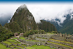The ancient ruins of Machu Picchu, the end of the Inca Trail in Peru.