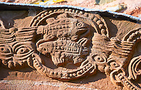 Norman Romanesque relief sculptures of fish the South doorway of Church of St Mary and St David, Kilpeck Herifordshire, England. Built around 1140