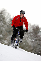 Sam Behr riding Kona Bike ..Wentworth Snow , Surrey  January 2010..pic copyright Steve Behr / Stockfile